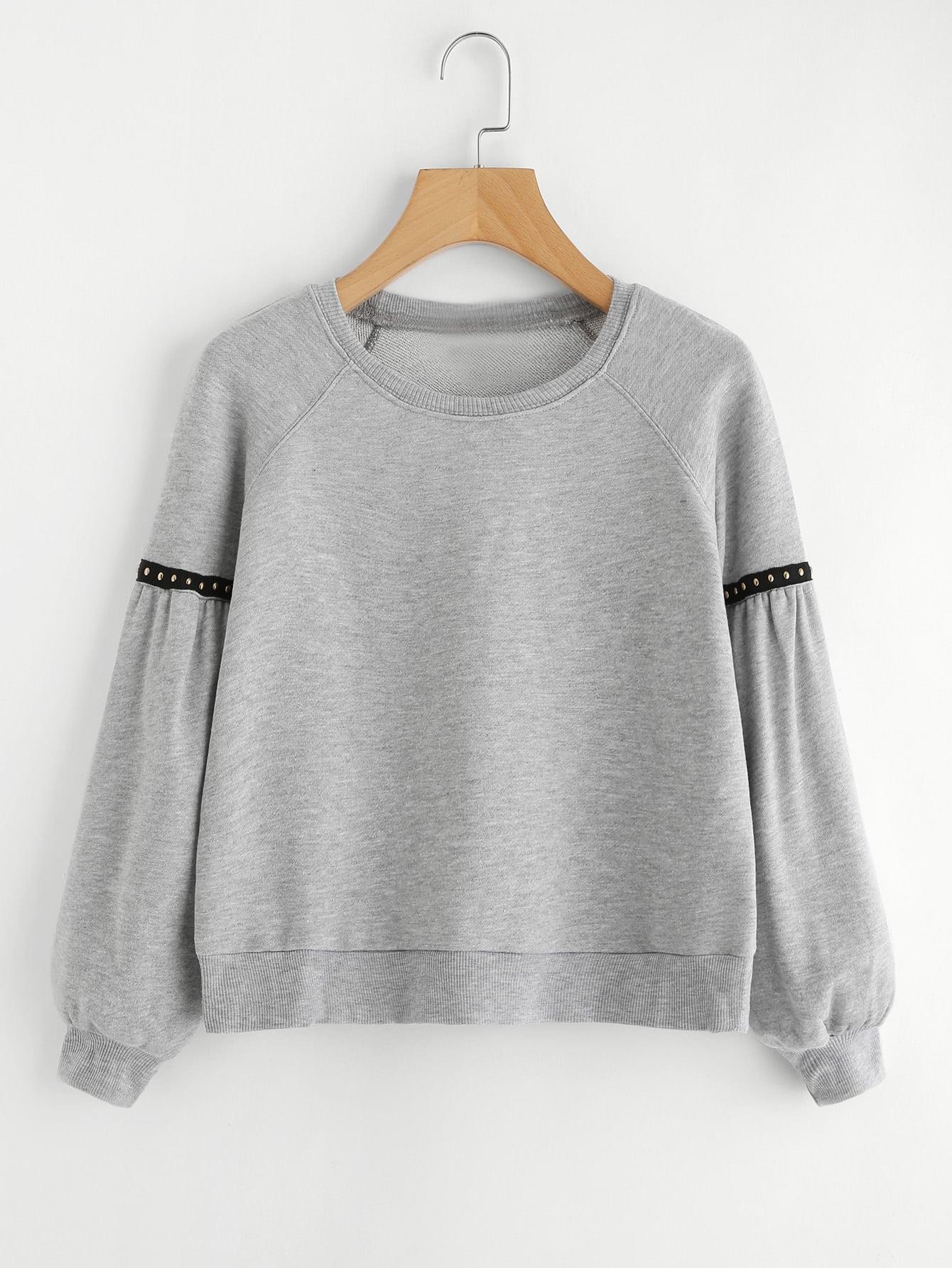 Ribbed Knit Trim Crop Sweatshirt sweatshirt170830403