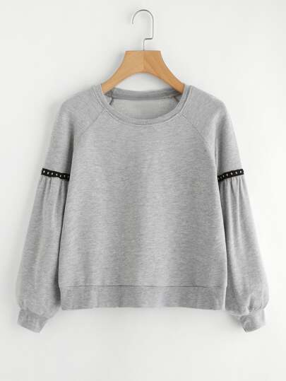 Ribbed Knit Trim Crop Sweatshirt