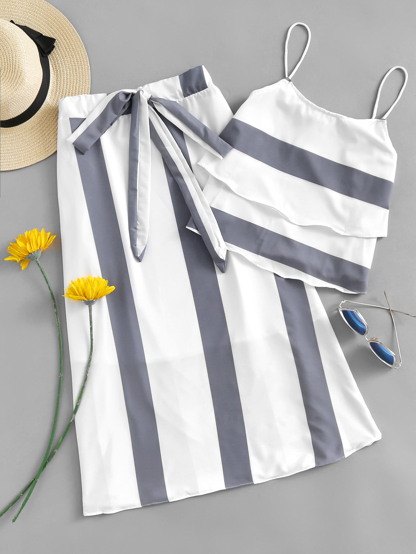 Striped Tiered Cami Top With Knot Front Skirt knot front striped cami with shorts