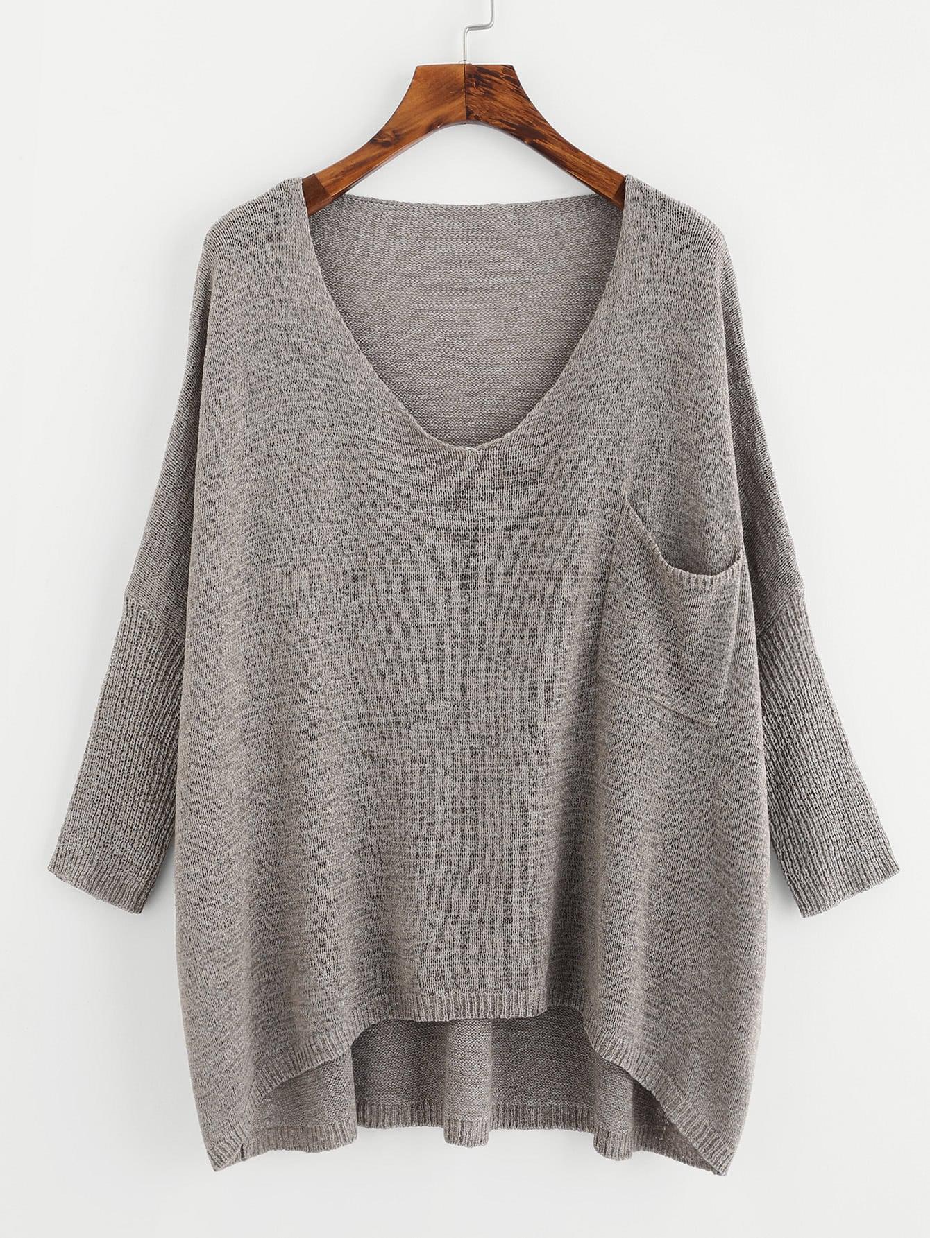 Drop Shoulder Pocket Front Dip Hem Sweater plus size plain drop shoulder hoodie with pocket