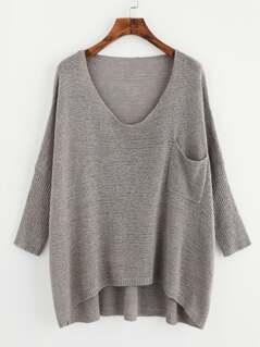 Drop Shoulder Pocket Front Dip Hem Sweater