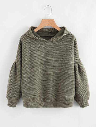 Drop Shoulder Hooded Knit Sweatshirt