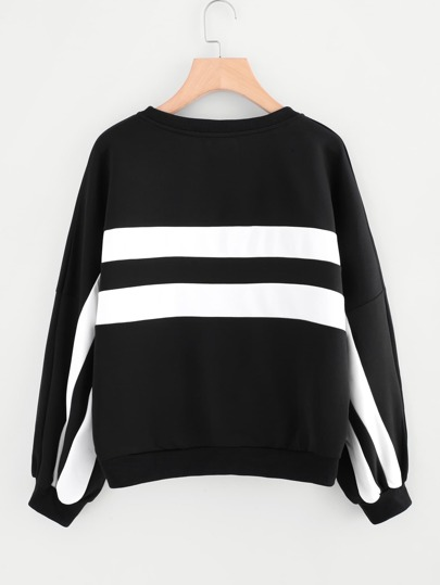 Contrast Panel Drop Shoulder Pullover