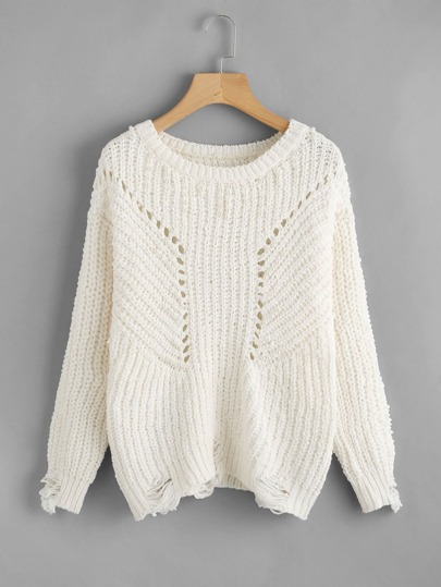 Pearl Beading Eyelet Chenille Sweater