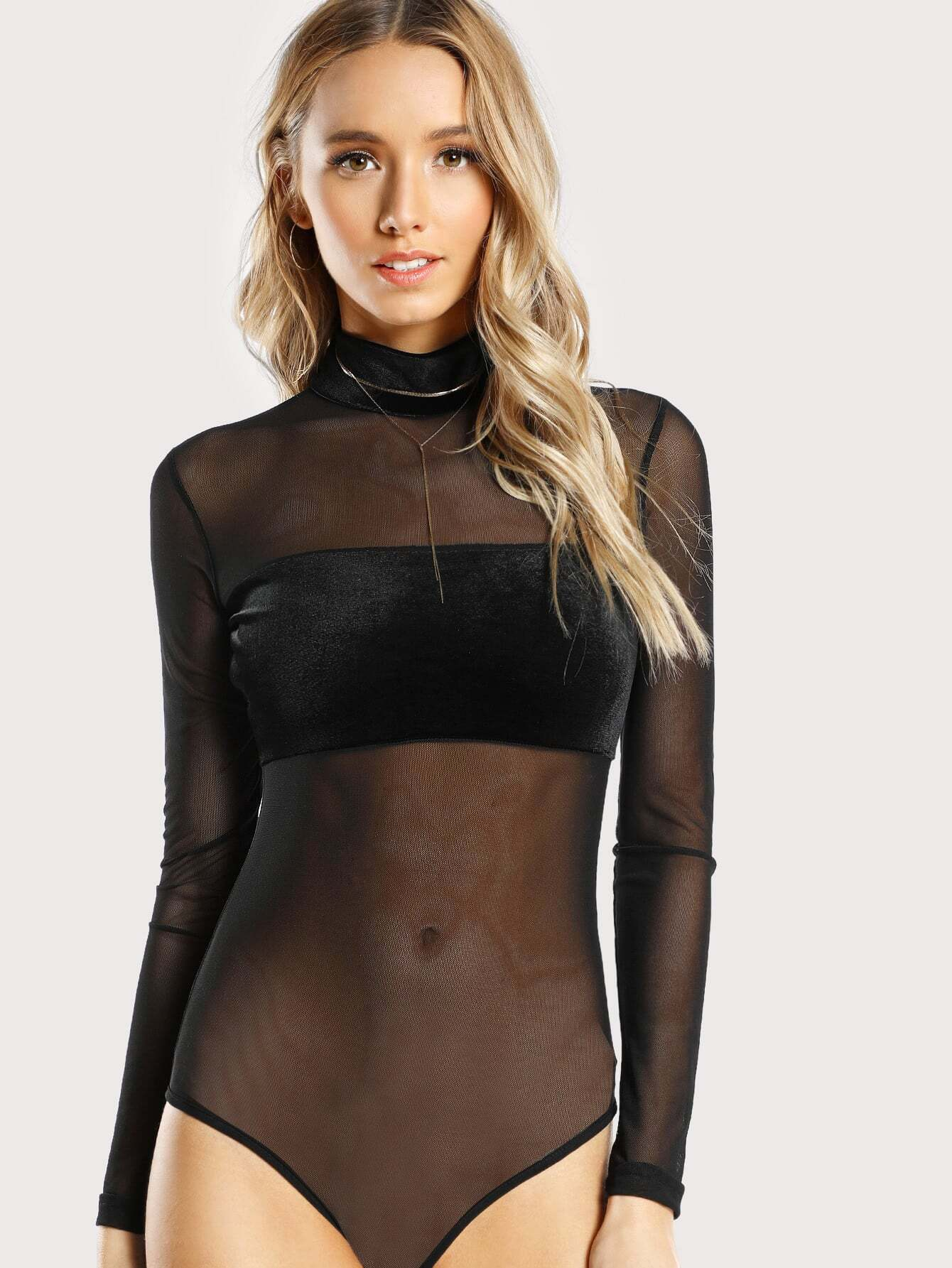 Velvet Panel Sheer Mesh Bodysuit sheer mesh panel colorblock legging