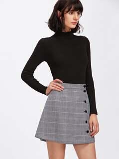 Buttoned Plaid Wrap Skirt