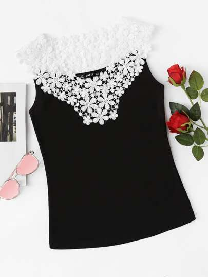 Guipure Lace Yoke Tank Top