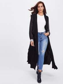 Sequin Cuff Sheer Sleeve Wrap Coat