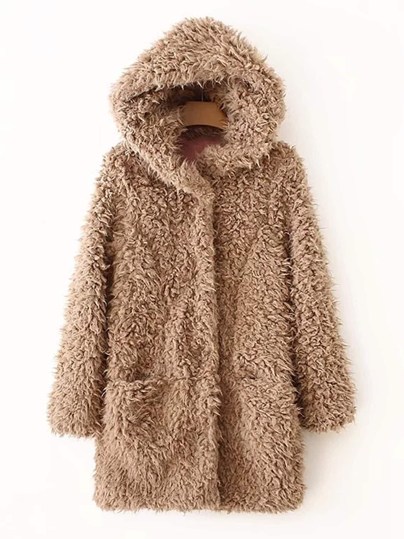 Faux Fur Hooded Coat -SheIn(Sheinside)