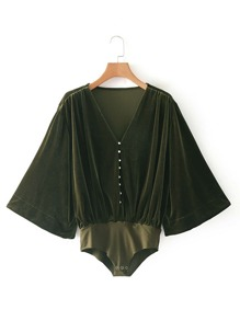 Kimono Sleeve Velvet Bodysuit