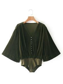 Samt Body mit Kimonoärmeln