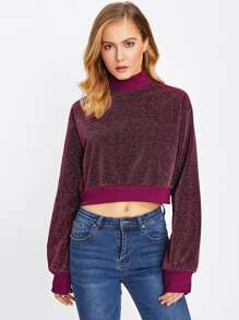 Mock Neck Ribbed Trim Glitter Pullover