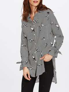 Belted Cuff Mixed Print Stepped Hem Blouse