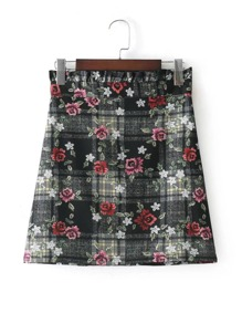 Frill Top Checked Floral Skirt