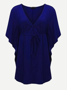 V Neckline Drawstring Kaftan Dress