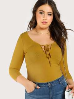 Quarter Sleeve Ribbed Tie Up Top MUSTARD