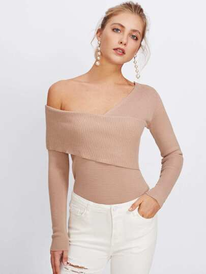 Asymmetrical One Shoulder Knitwear