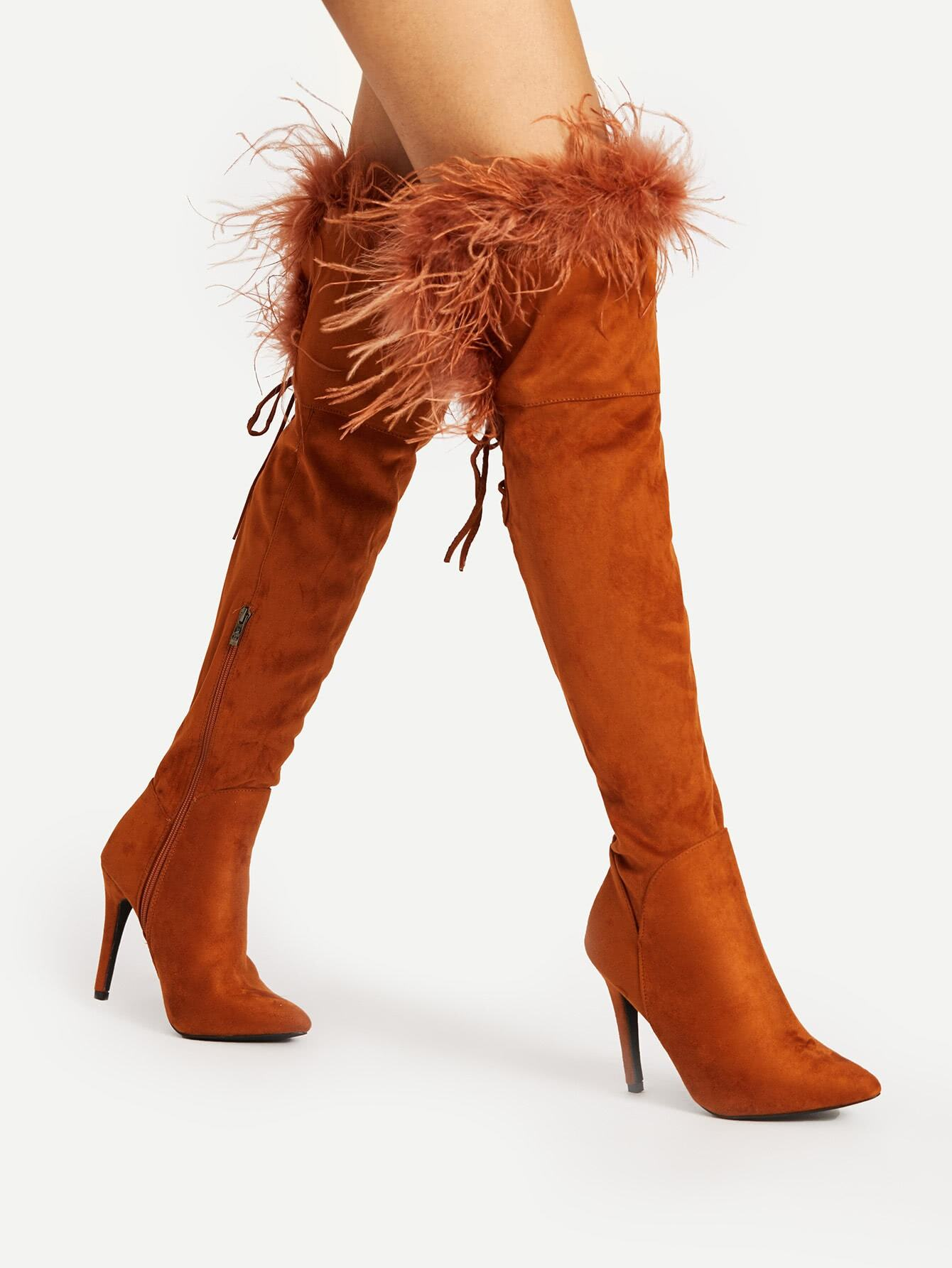 Faux Fur Point Toe Over The Knee Boots shoes17091244