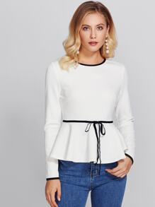 Ringer Bow Detail Textured Peplum Top