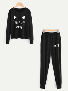 Cat Print Pullover & Sweatpants Set