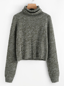 Raglan Sleeve Rolled Neck Crop Sweater