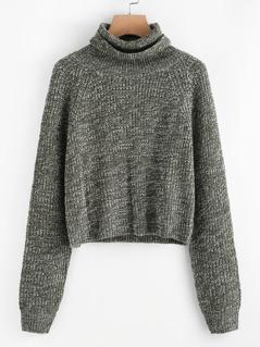 Raglan Sleeve Rolled Neck Crop Sweater