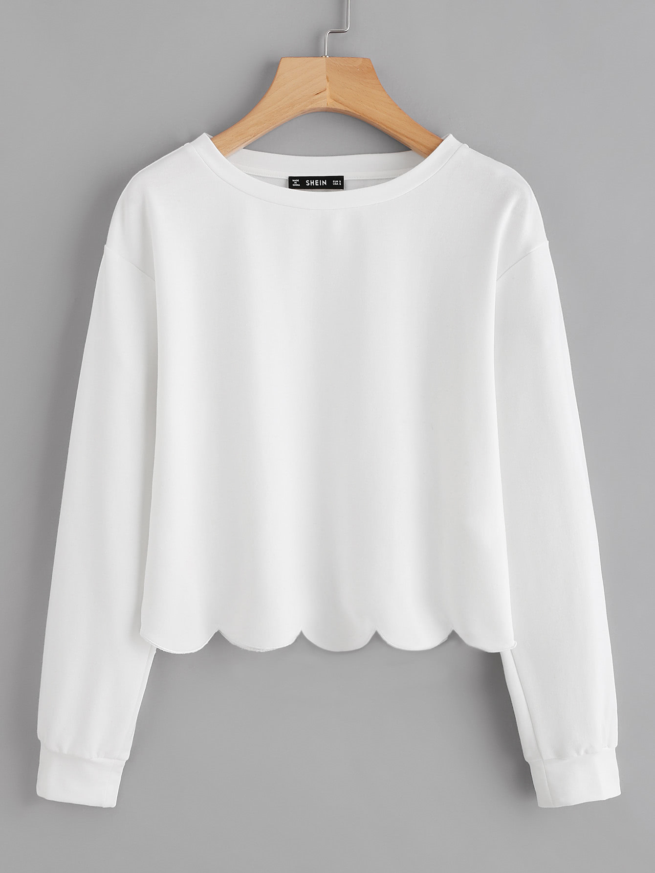 Drop Shoulder Scallop Hem Sweatshirt drop shoulder frill hem batwing sweatshirt