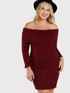 Off Shoulder Ribbed Knit Dress BURGUNDY