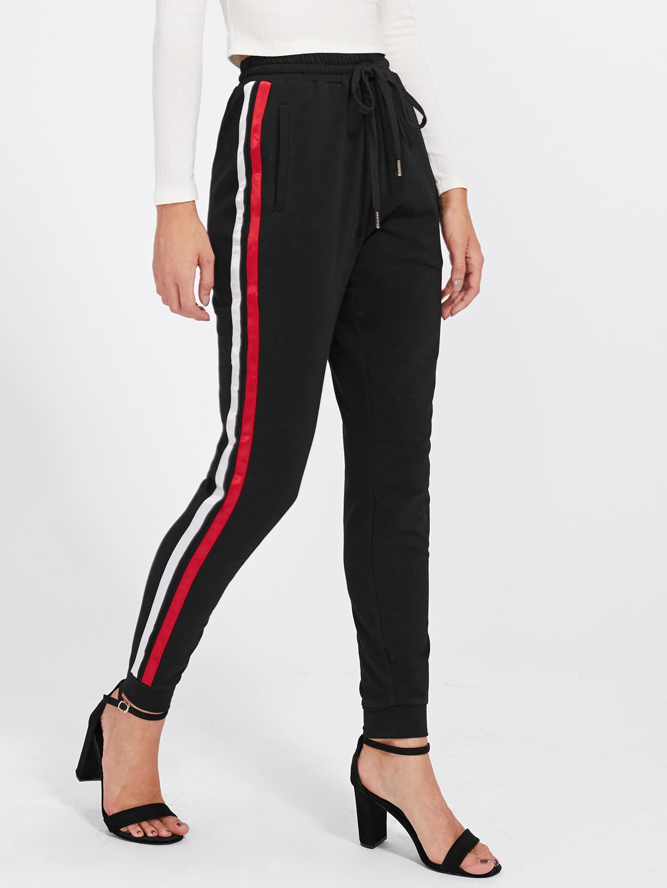 Satin Ribbon Sideseam Skinny Sweatpants lisa corti короткое платье