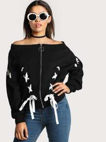 Grommet Lace Up Bardot Jacket