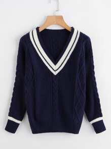 V Neckline Striped Trim Knit Sweater