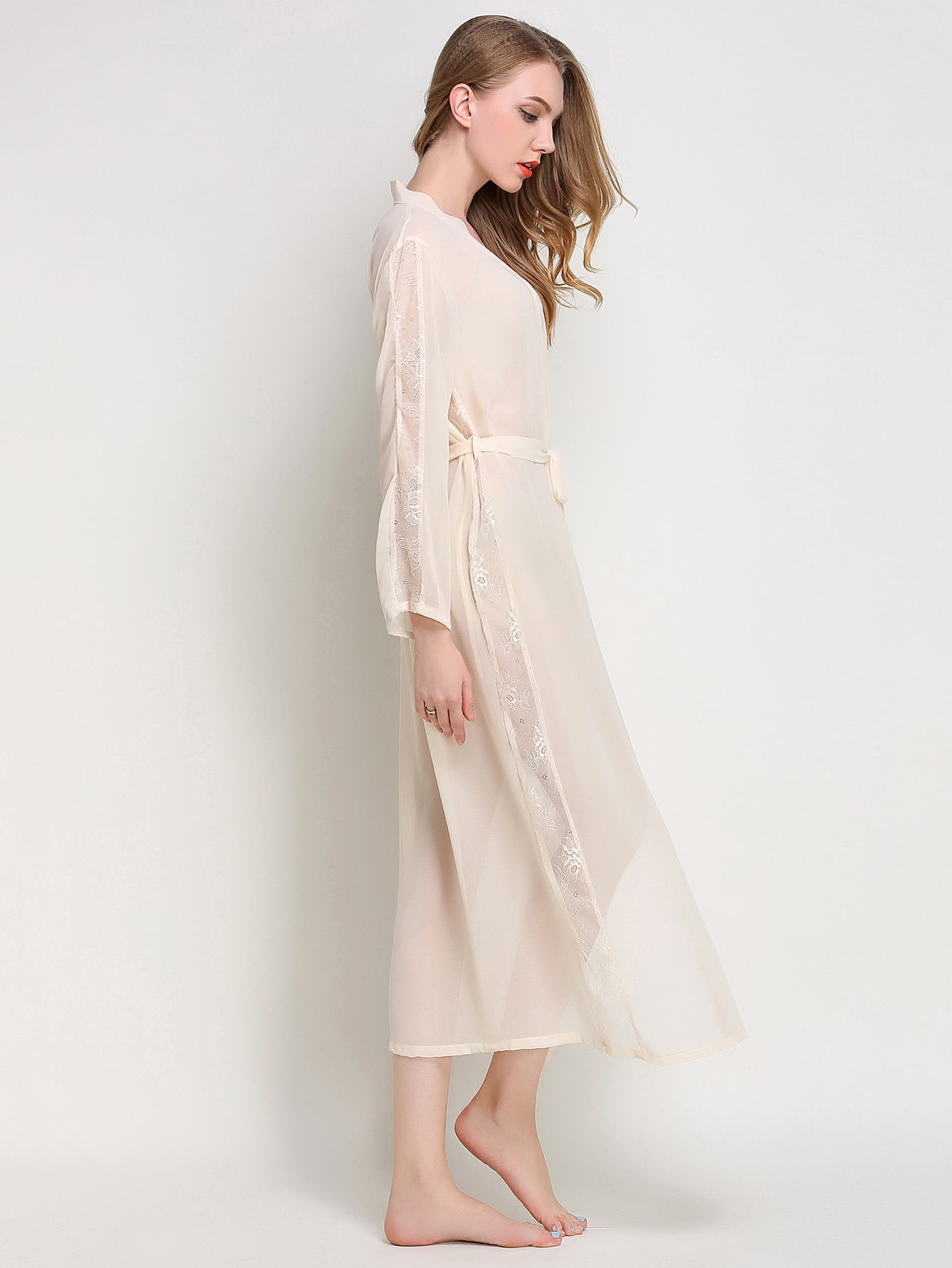 Lace Panel Self Tie Robe