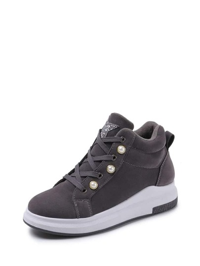 Suede Faux Pearl Detail Lace Up Sneakers