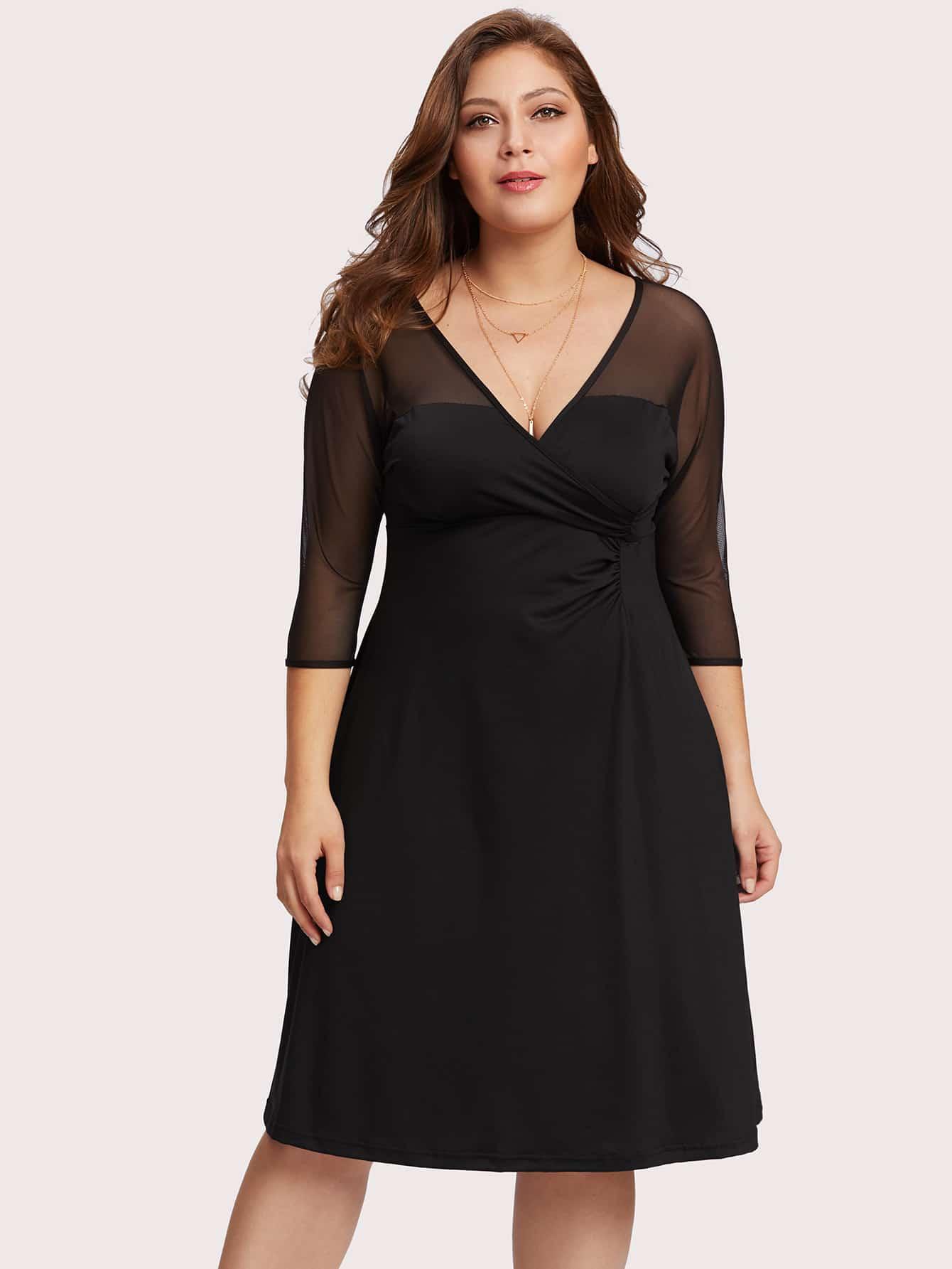 Купить Модное платье с сетчатой вставкой и V-образным вырезом, Carol, SheIn