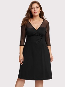 V Neckline Sheer Mesh Wrap Dress