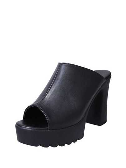 Block Heeled Platform Mule Pumps