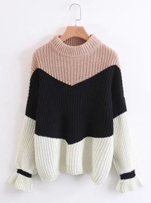 Color Block Fluted Sleeve Sweater