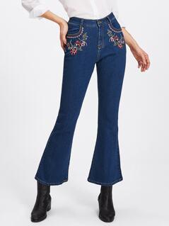 Botanical Embroidery Flare Hem Jeans