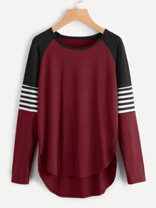 Contrast Striped Sleeve Dip Hem Tee