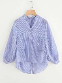 Embroidered Detail Buttoned Back Pinstripe Dip Hem Blouse