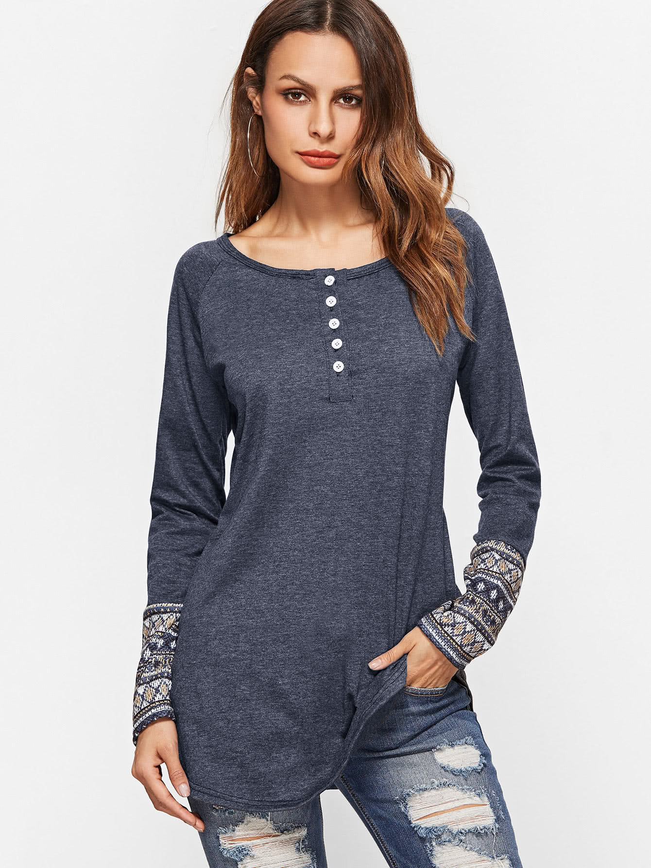 Contrast Tribal Print Cuff Button Front T-shirt