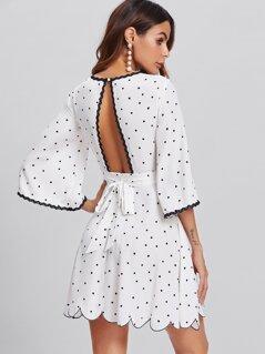 Bell Sleeve Open Back Scalloped Polka Dot Dress
