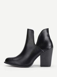 Block Heeled PU Ankle Boots