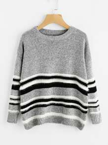 Contrast Striped Pullover Sweater