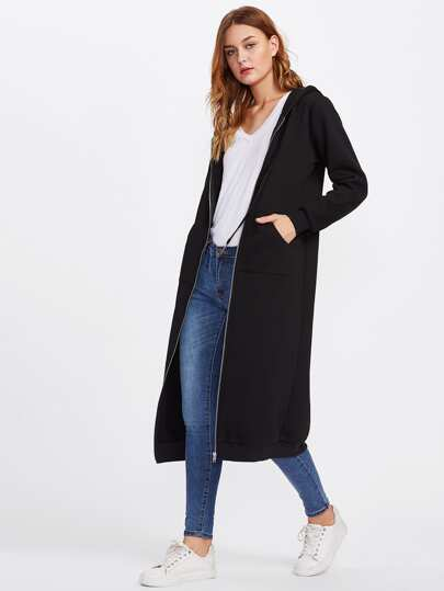 Patch Pocket Front Longline Hooded Jersey Coat