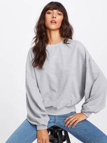 Pleated Sleeve Heather Knit Sweatshirt