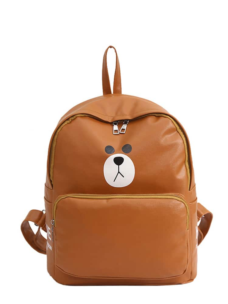 Cartoon Print Zipper Front Backpack
