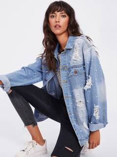 Pearl Beaded Bleached Wash Distressed Jacket