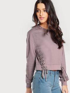 Lace Up Long Sleeve Sweatshirt PURPLE
