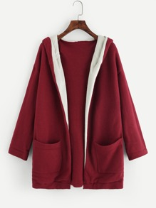 Drop Shoulder Pocket Open Front Cardigan
